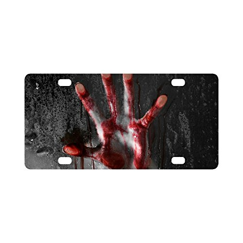 InterestPrint Horror Scene with Bloody Hand against Glass Halloween Theme Car Decor Metal License Tag Plate for Woman Man - 12