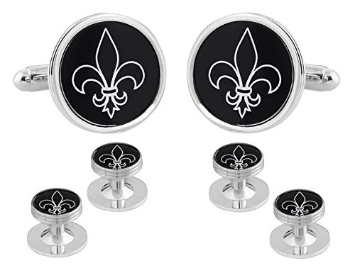 Fleur De Lis Black Silver Cufflinks Studs Tuxedo Formal Set with Presentation Box