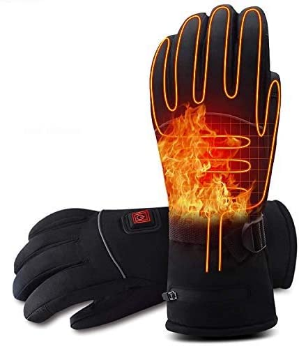 Rabbitroom Electric Battery Heated Gloves for Men&Women Rechargeable Battery Powered Gloves Waterproof Thermal Arthritic Gloves Winter Outdoor Sport Mittens