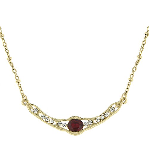 1928 Jewelry Downton Abbey Gold-Tone Red Crystal Petite C...