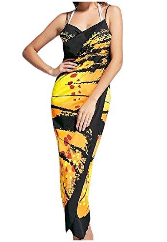 Profonda Giallo A donne Di Regular Lunga V Spiaggia Adattarsi Colore Maxi Collo Vestito Stampa Coolred a1qwx6PZP
