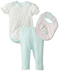 Rene Rofe Baby Baby-Girls Newborn Butterfly 3 Piece Pant Set with Bodysuit and Bib, Multi, 3-6 Months