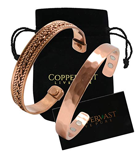 (2 Handmade Copper bracelets for men and women-Arthritis therapy magnetic bracelets with 6 powerful magnets-Effective & Natural Relief for Joint Pain and Arthritis(set of 2-Hammered +Chain Inlay))