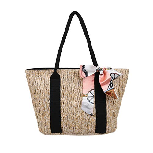 Women's Woven Tote Bag Straw Woven Silk Bow Scarf Large Capacity Zipper Anti-Theft Shopper Bag Ladies Daily Commuter Handbag -