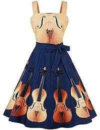 Women's Violin Print Waist Tie Wide Strap Apron Vintage Music Party Dress