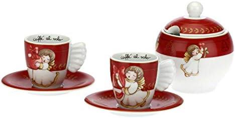 THUN – Set 2 Tazzine da caffè e Zuccheriera con Decorazioni Natalizie – Accessori Cucina – Linea Dolce Natale – Porcellana – Tazzina 100 ml