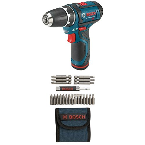 Bosch PS31-2A 12-Volt Max Lithium-Ion 3/8-Inch 2-Speed Drill/Driver Kit with 2 Batteries, Charger and Case w/ 21 pc screwdriver bit set