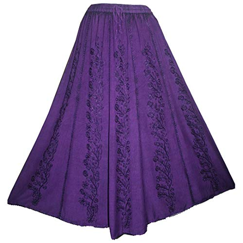 - 712 SK Gypsy Medieval Renaissance Embroidered Skirt [L/XL; Purple]