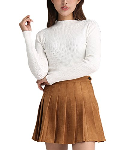 Soojun Women's Fashion Pleated Suede Mini Flared Skater Skirt, Brown, US 4