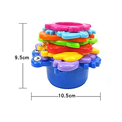 Bsjmlxg Family Bath Toy Kids Toys, 8pcs A Great Life Stacking Cups Sea Animals, Indoor Outdoor Beach Fun Bathtub Fun Toy for Water Play: Toys & Games
