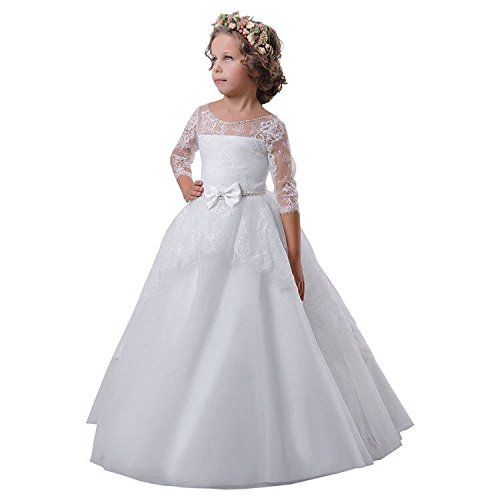Carat Beading Holy Flower Girl Dresses First Communion Dresses White Size (First Holy Communion Dress)