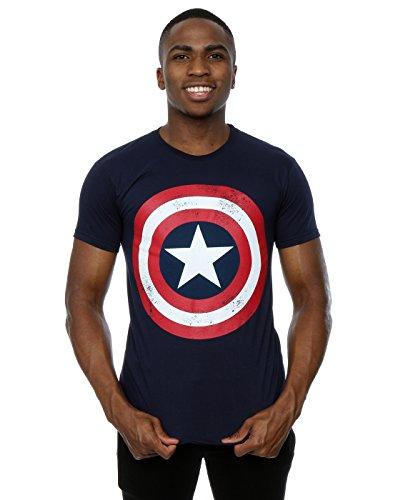 Marvel Men's Captain America Distressed Shield T-Shirt