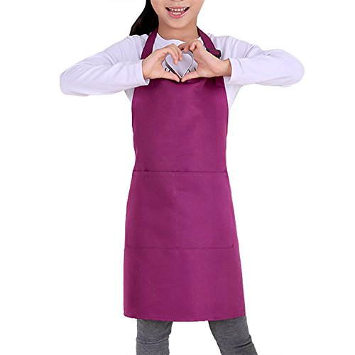 Kids Apron with Pockets Adjustable Shoulder Straps Machine Wash Children Bib Aprons for Kitchen Classroom Garden Community Event Party Crafts Art Painting (Purple)