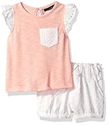 Kensie Baby Girls\' Tank and Pull-on Short, Apricot, 18M