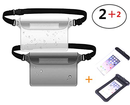 stbeyond 4Pack Waterproof Pouch -2Pack Adjustable Long Waist Strap Waterproof Bag And 2Pack Waterproof Phone Pouch by stbeyond