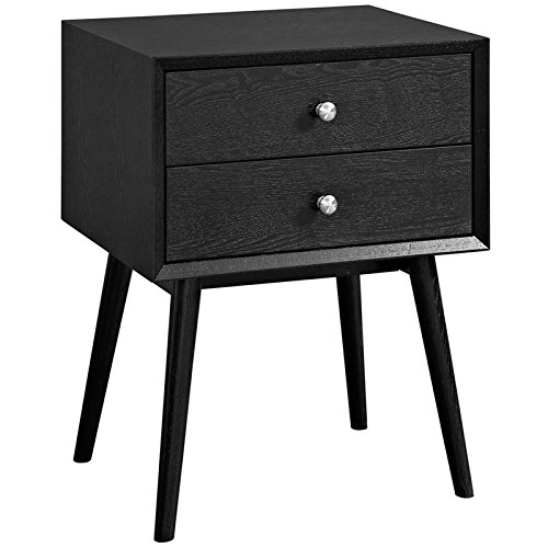 Modway Dispatch Mid Century Modern Nightstand In Black - End Table For Bedroom Lamps - Bed Stand - Available In: Black - White - Natural - Walnut by Modway