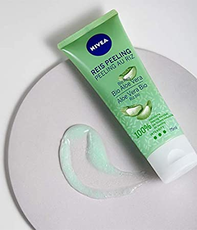 NIVEA Exfoliante de arroz orgánico de aloe vera, limpieza facial natural con alta intensidad exfoliante, exfoliante facial sin microplásticos