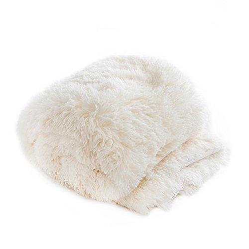 Qbedding Extra Big Soft Faux Fur Sherpa Reversible Throw Blanket (White, 59x78) (The Blanket Throw One Big)