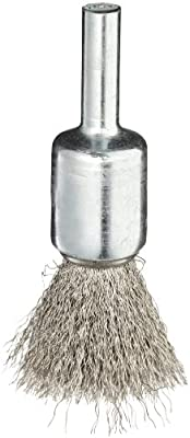 Weiler Wire End Brush, Solid End, Round Shank, Stainless Steel 302, Crimped Wire