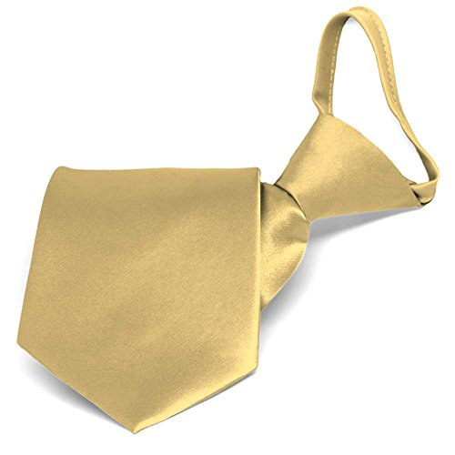 17 Inch Zipper Ties (TieMart Pale Gold Solid Color Zipper Tie, 17