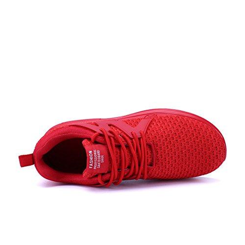 KRIMUS Mens Walking Turnschuhe Luftpolster Sportschuhe Breathable Athletische Laufschuhe von rot