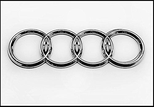Audi Silver Rear Emblem Decal Logo Trunk Hatch Rings Genuine ()