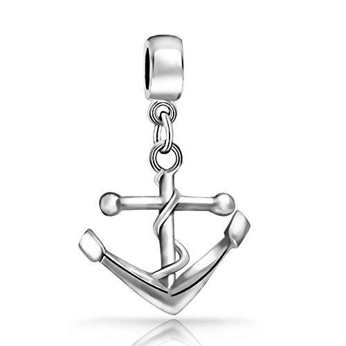 The Kiss Nautical Anchor Dangle Bead 925 Sterling Silver Bead Fits European Charm Bracelet