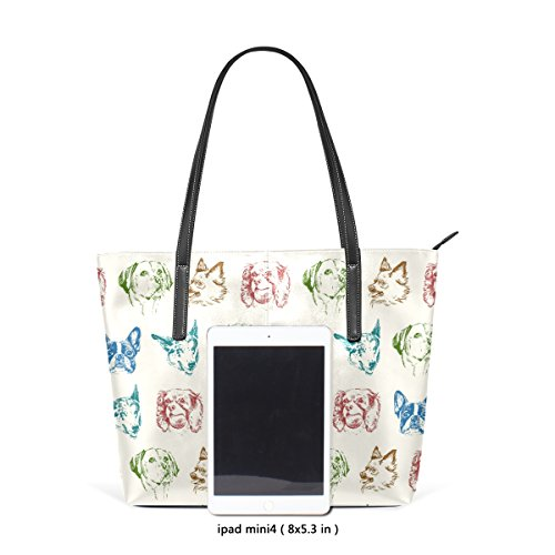 Handle Top Purses Puppy Colorful Leather PU Dogs Totes Fashion Women's TIZORAX Bags Handbag Shoulder OUnxzAw