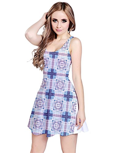 CowCow Damen Kleid Blau crystal blue Gr. XXXXX-Large, Blue Grid
