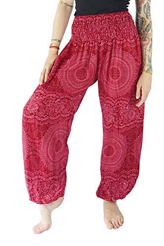 Boho Vib Women's Rayon Print Smocked Waist Boho Harem Yoga Pants (Small/Medium, Rose S Pink)