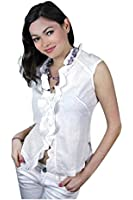 White Seashell Ruched Blouse by Tarusa Studio Accent. M (46-48)