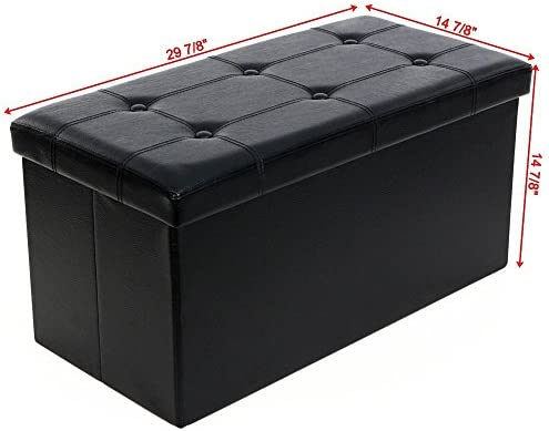 Finnhomy Folding Storage Ottoman Bench, Toy and Shoe Chest Faux Leather Seat & Foot Rest, 30'' Folding Storage Bin with Turfed Top & Free Play Mat, Black
