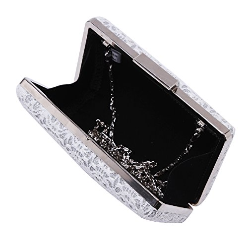 Box Evening Lace Hollow Silver Damara Metallic Handbag Out Bag Womens Elegance gY88wS