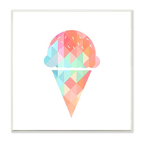 Stupell Home Décor Graphic Rainbow Ice Cream Cone Wall Plaque Art, 12 x 0.5 x 12, Proudly Made in USA