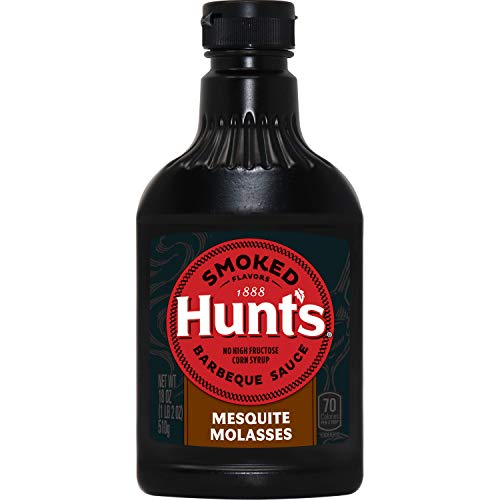 Hunt's Smoked Flavors Barbecue Sauce Squeeze Bottle, Mesquite Molasses, 18 Ounce (Pack of 6)