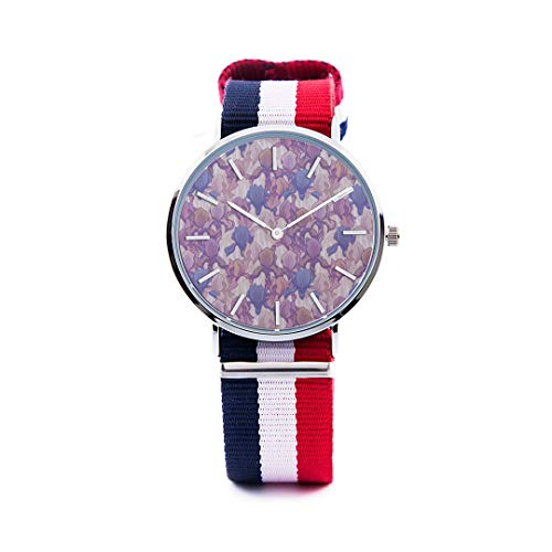 Unisex Fashion Watch Purple Iris Flower Spring Romantic Hand-Painted Art Embroidery Print Dial Quartz Stainless Steel Wrist Watch with Nylon NATO Strap Watchband for Women/Men Casual Watch