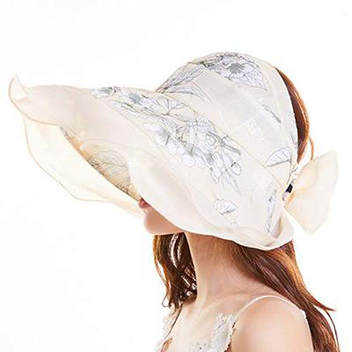 Heart-To-Heart sunhat Summer Hats Flower Pattern Breathable Sun Hat Big Bow Wide Brim Sun Shade Sun Visor Foldable,Beige