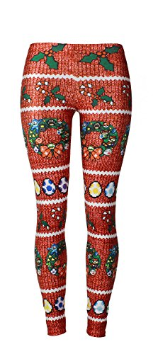 Cute 2017 Candy Cane Bat Mistletoe Aztec Printed Pattern Leggings for (Candy Cane Cosplay)