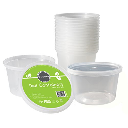 Deli Containers with Lids, 16 oz. Leakproof - Pack of 40 Plastic Microwaveable Clear Food Storage Container BPA Free, Premium Quality - by - Plate Candy Melting