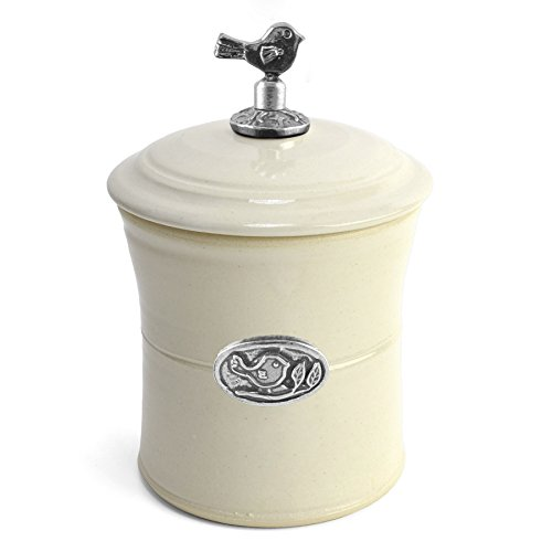 Oregon Stoneware Studio Bird Garlic Pot with Pewter Finial, Whipping Cream