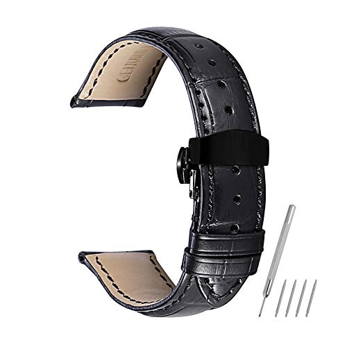 Watch Band Leather Strap Replacement 14mm 16mm 18mm 19mm 20mm 21mm 22mm 24mm Calf Wrist Watchband Deployment Buckle Deployant Clasp CHIMAERA