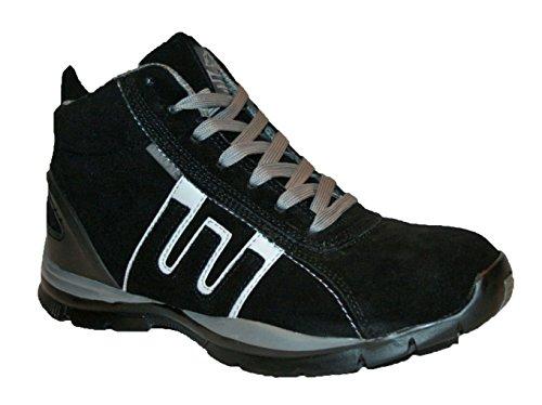Zapatillas de seguridad para hombre GR86, de piel, con punta de acero y cordones, color Negro, talla 41.5