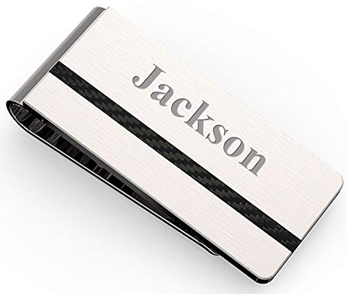 Executive Gift Shoppe | Personalized Formal Money Clip | Free Custom Engraving | Stainless Steel & Carbon Fiber Accents | French Fold Style | Wallet Alternative | Securely Holds 15 Folded Bills ()