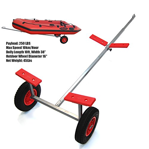 "Hand Dolly Set with 16"" Wheels, Fully Extended to 10ft Length, Rear Bunks Width 38"" (New Version) ()"