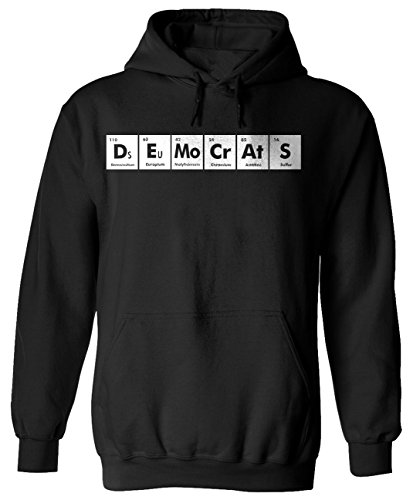 DEMOCRATS Periodic Table Chemistry Funny Adult Black Hoodie for Men and Women x3 S ()
