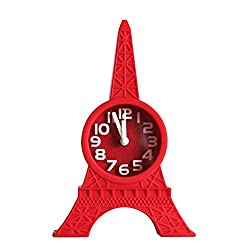 lightclub Fashion Eiffel Tower Tabletop Alarm Standing Clock Home Office Decoration Gift Red