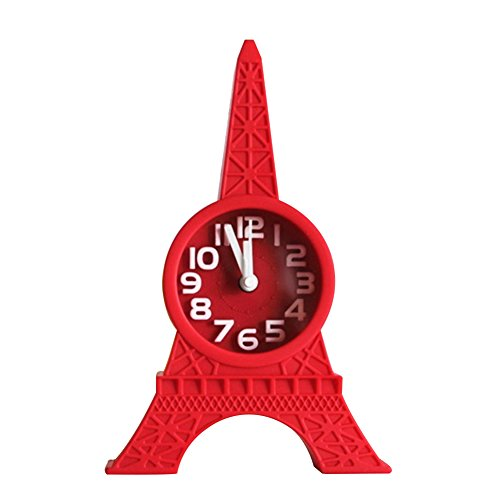 YHCWJZP Fashion Eiffel Tower Tabletop Alarm Standing Clock Home Office Decoration Gift - Red
