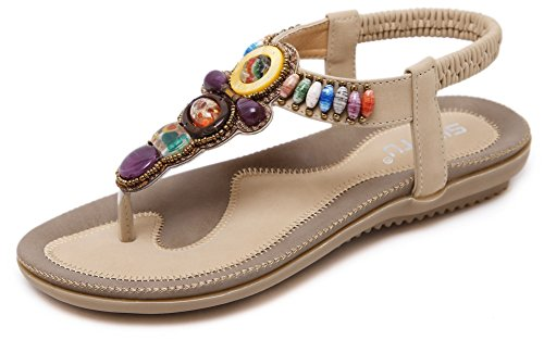 Sandal Soles Classic Soft (JIYE Fashion Shoes Women's Gemstone Casual Sandals Summer Shoes,Flat Sandals,Apricot,7.5US-Women)