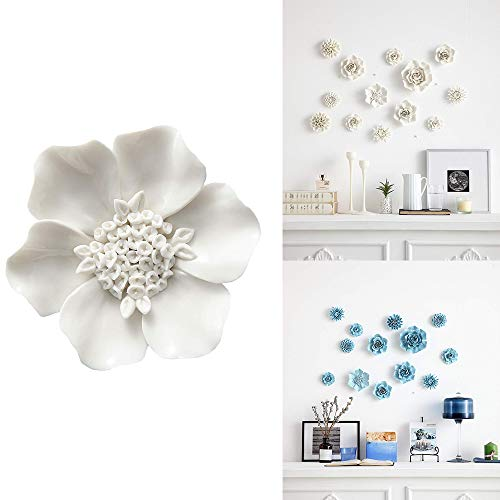 ALYCASO Artificial Flowers Wall Decoration for Living Room Bedroom Hanging 3D Wall Art Ceramic Flower Pediments Sculpture White, F5