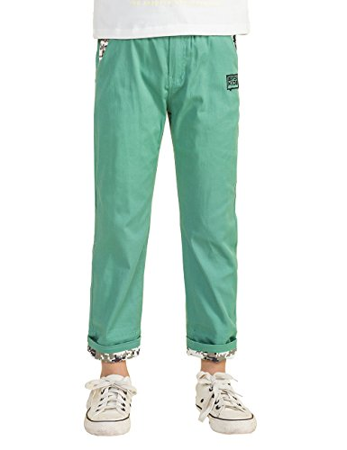 BYCR Boys' Elastic Waist Cotton Jogger Pants for Kids Size 4-12 No. 7170101212 (150 ( US Size 10 ), green) (Joggers For Boys 11)